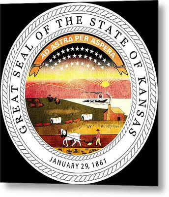 Great Seal Of The State Of Kansas Metal Print by Mountain Dreams
