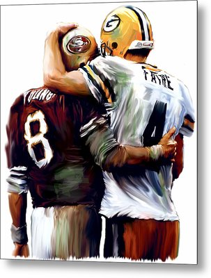 Greatness  Brett Favre And Steve Young  Metal Print by Iconic Images Art Gallery David Pucciarelli