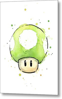 Green 1up Mushroom Metal Print by Olga Shvartsur