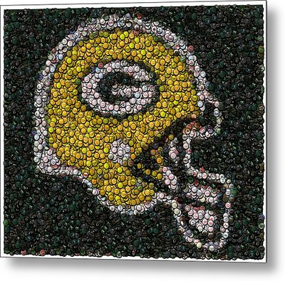 Green Bay Packers Bottle Cap Mosaic Metal Print by Paul Van Scott