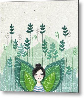 Green Metal Print by Carolina Parada