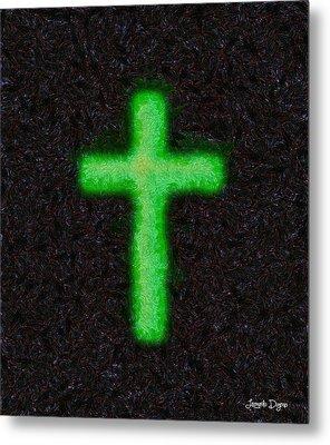 Green Cross - 'starry Night' Style - Da Metal Print by Leonardo Digenio