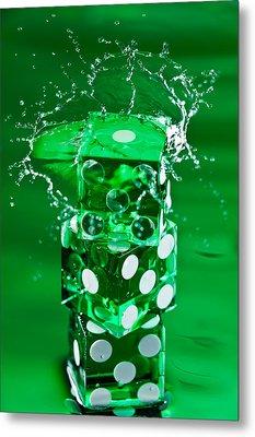 Green Dice Splash Metal Print by Steve Gadomski