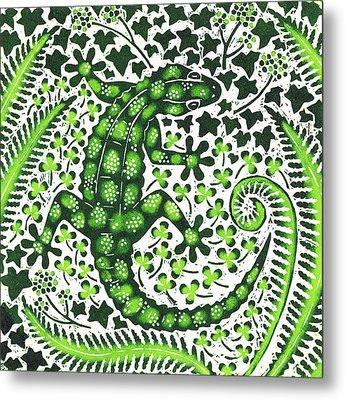 Green Gecko Metal Print by Nat Morley
