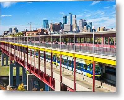 Green Line Light Rail In Minneapolis Metal Print by Jim Hughes