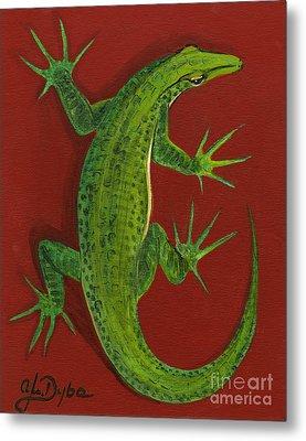Green Lizard Metal Print by Anna Folkartanna Maciejewska-Dyba