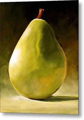 Green Pear Metal Print by Toni Grote