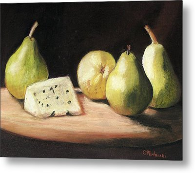 Green Pears With Cheese Metal Print by Cindy Plutnicki