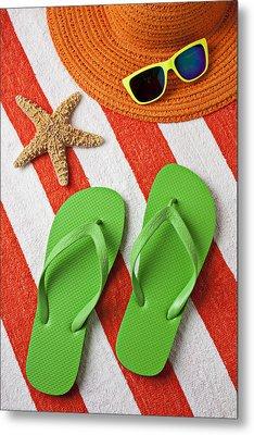 Green Sandals On Beach Towel Metal Print by Garry Gay