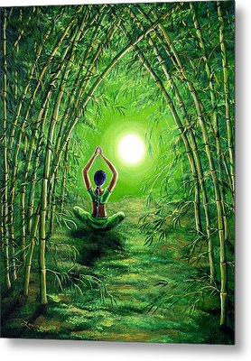 Green Tara In The Hall Of Bamboo Metal Print by Laura Iverson