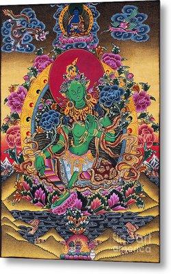 Green Tara Thangka Metal Print by Tim Gainey