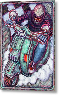 Green Vespa Metal Print by Mark Howard Jones