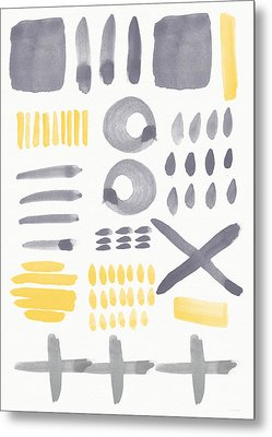 Grey And Yellow Shapes- Abstract Painting Metal Print by Linda Woods