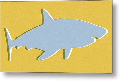Grey And Yellow Shark Metal Print by Linda Woods
