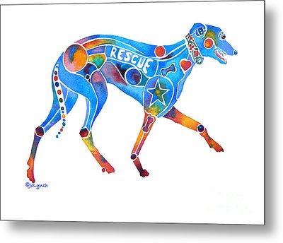 Greyhound Rescue Gffl Metal Print by Jo Lynch