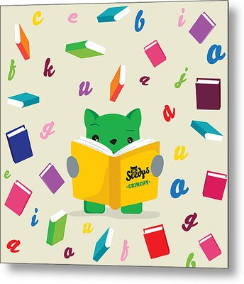 Grinchy And Books Metal Print by Seedys