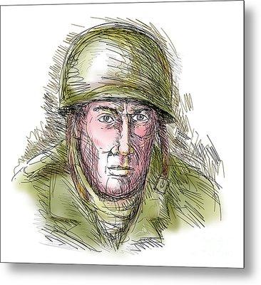 Gritty World War Two Soldier Metal Print by Aloysius Patrimonio