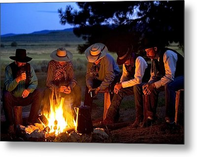 Group Of Cowboys Around A Campfire Metal Print by Richard Wear