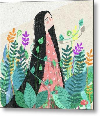 Grow With Nature Metal Print by Carolina Parada