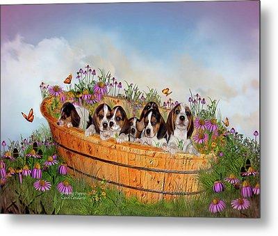 Growing Puppies Metal Print by Carol Cavalaris