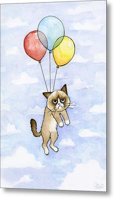 Grumpy Cat And Balloons Metal Print by Olga Shvartsur