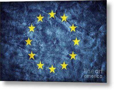 Grunge European Union Flag Metal Print by Michal Bednarek