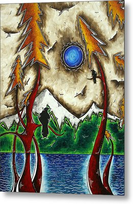 Guardians Of The Wild Original Madart Painting Metal Print by Megan Duncanson