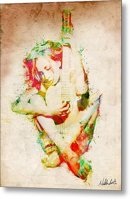 Guitar Lovers Embrace Metal Print by Nikki Smith