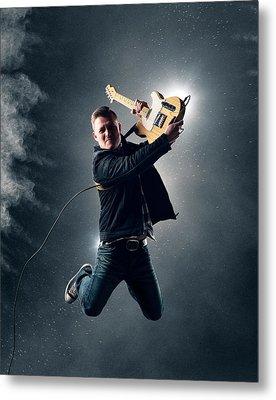 Guitarist Jumping High Metal Print by Johan Swanepoel