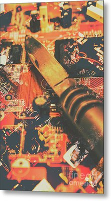 Hacking Knife On Circuit Board Metal Print by Jorgo Photography - Wall Art Gallery
