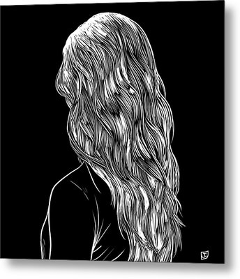 Hair In Black Metal Print by Giuseppe Cristiano