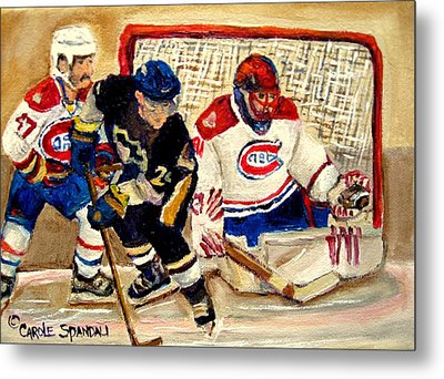 Halak Catches The Puck Stanley Cup Playoffs 2010 Metal Print by Carole Spandau