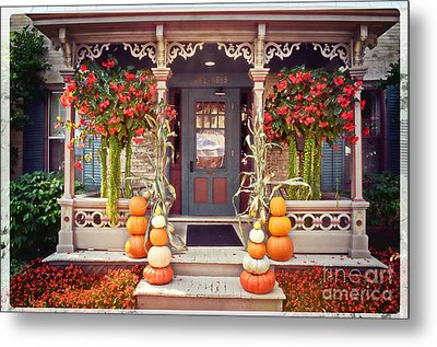 Halloween In A Small Town Metal Print by Mary Machare