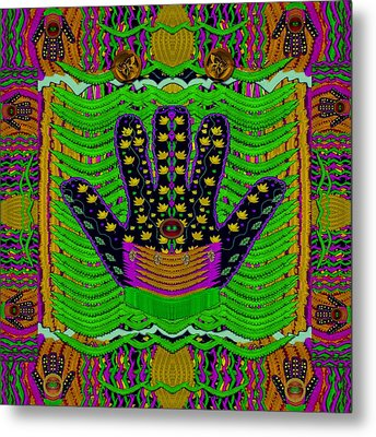 Hamsa Hands For Good Luck Metal Print by Pepita Selles