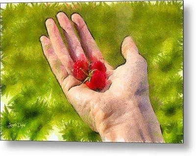 Hand And Raspberries - Pa Metal Print by Leonardo Digenio