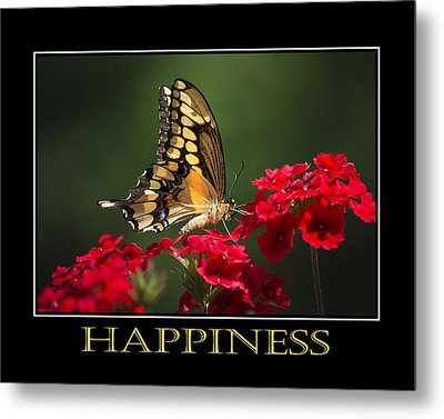 Happiness Inspirational Poster Art Metal Print by Christina Rollo