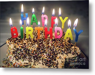 Happy Birthday Candles Metal Print by Carlos Caetano
