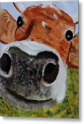 Happy Cow Metal Print by Brian Hustead