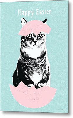 Happy Easter Cat- Art By Linda Woods Metal Print by Linda Woods