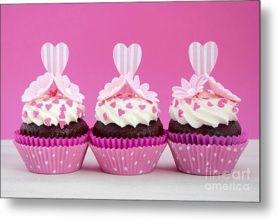 Pink And White Cupcakes. Metal Print by Milleflore Images