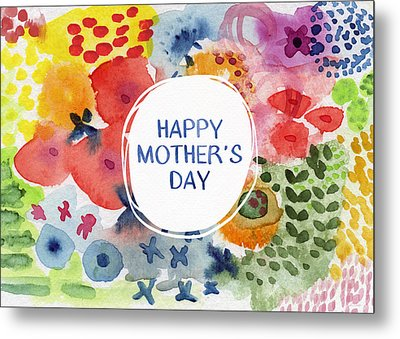 Happy Mothers Day Watercolor Garden- Art By Linda Woods Metal Print by Linda Woods