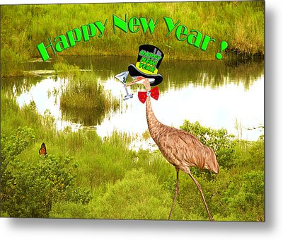 Happy New Year Card Metal Print by Adele Moscaritolo