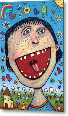 Happy Pill Metal Print by James W Johnson