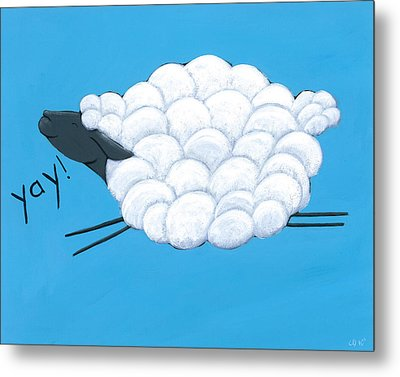 Happy Sheep Metal Print by Christy Beckwith