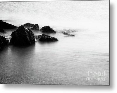 Harbor Rocks And Misty Ocean I Metal Print by Charmian Vistaunet