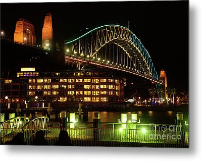 Harbour Bridge Aqua Gold Vivid Sydney 2016 By Kaye Menner Metal Print by Kaye Menner