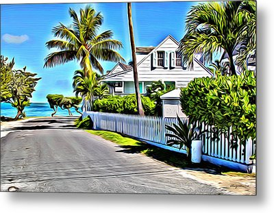 Harbour Island Street Metal Print by Anthony C Chen