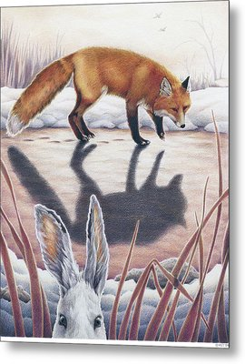 Hare Stands On End Metal Print by Amy S Turner