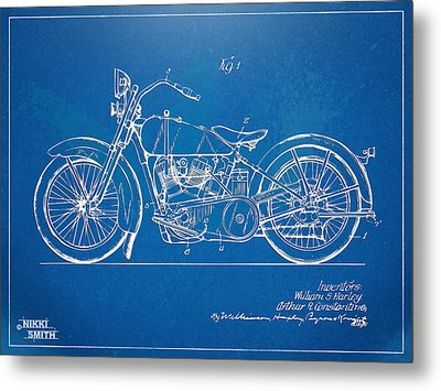 Harley-davidson Motorcycle 1928 Patent Artwork Metal Print by Nikki Marie Smith
