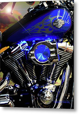 Harleys Twins Metal Print by DigiArt Diaries by Vicky B Fuller